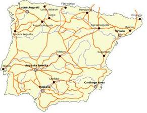 Map of the Roman roads in Spain