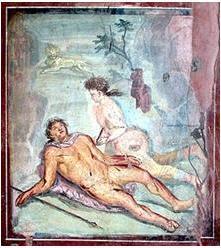 Lienzo del siglo I sobre Píramo y Tisbe